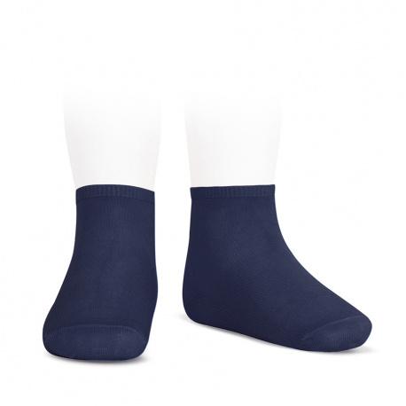 Socquettes point lis coton élastique BLEU MARINE