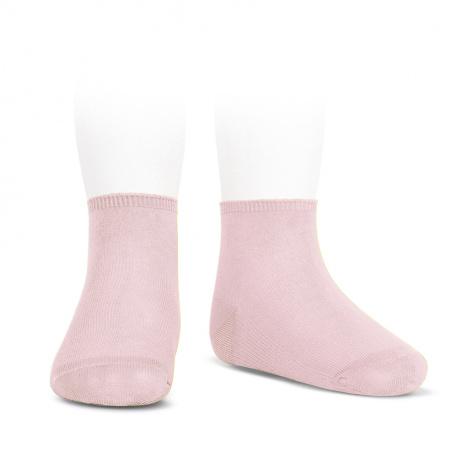 Socquettes point lis coton élastique ROSE