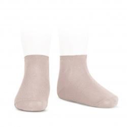 Socquettes point lis coton élastique VIEUX ROSE