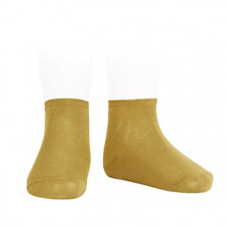 Socquettes point lis coton élastique MOUTARDE
