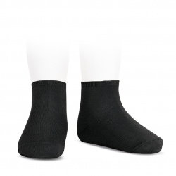 Socquettes point lis coton élastique NOIR