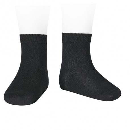 Calcetines cortos punto liso NEGRO