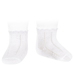 Pattern short socks WHITE