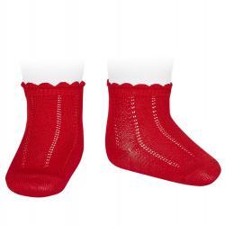 Calcetines cortos labrados ROJO