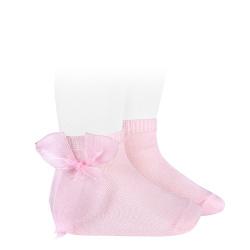 Calcetines cortos punto liso con lazo de organza ROSA