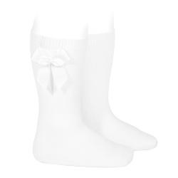 Chaussettes hautes coton avec noeud latéral BLANC