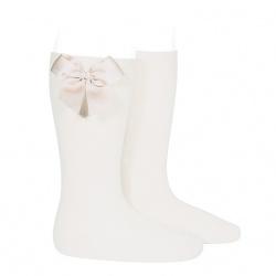 Chaussettes hautes coton avec noeud latéral CREME