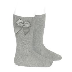 Knee-high socks with grossgrain side bow ALUMINIUM