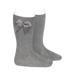 Calcetines altos algodón con lazo lateral GRIS CLARO