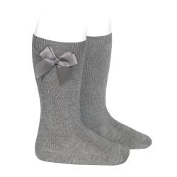 Chaussettes hautes coton avec noeud latéral GRIS CLAIR