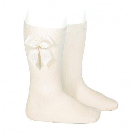 Chaussettes hautes coton avec noeud latéral ECRU