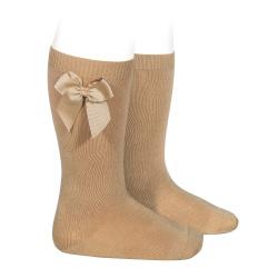 Knee-high socks with grossgrain side bow CAMEL