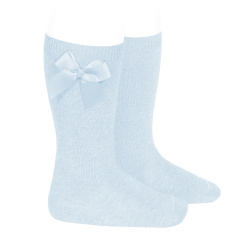 Knee-high socks with grossgrain side bow BABY BLUE