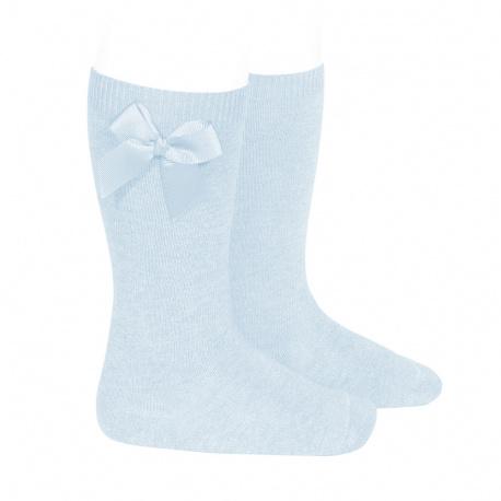 Calcetines altos algodón con lazo lateral AZUL BEBE