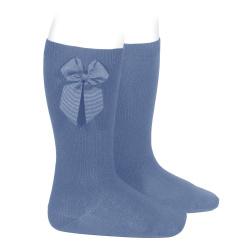 Chaussettes hautes coton avec noeud latéral BLEU FRANCE