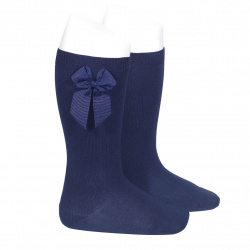Calcetines altos algodón con lazo lateral MARINO