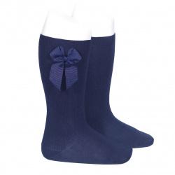 Chaussettes hautes coton avec noeud latéral BLEU MARINE