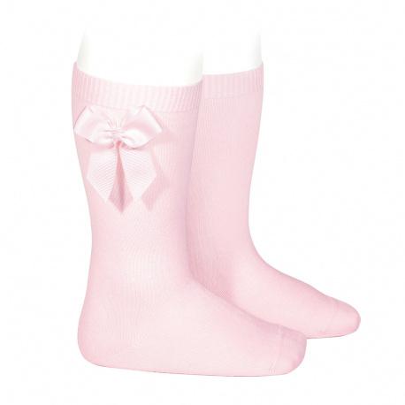 Chaussettes hautes coton avec noeud latéral ROSE