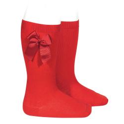 Chaussettes hautes coton avec noeud latéral ROUGE