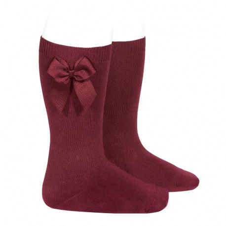 Calcetines altos algodón con lazo lateral GRANATE