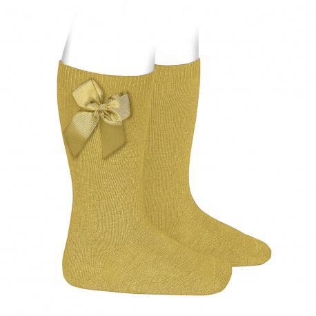Calcetines altos algodón con lazo lateral MOSTAZA