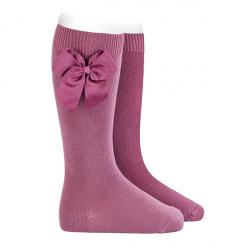 Chaussettes hautes coton avec noeud latéral CASSIS