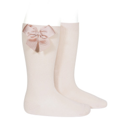 Knee-high socks with grossgrain side bow NUDE
