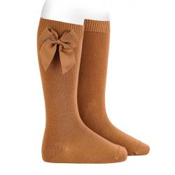 Calcetines altos algodón con lazo lateral CANELA