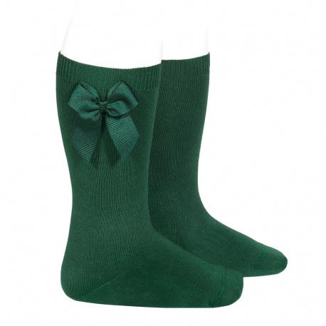Chaussettes hautes coton avec noeud latéral VERD BOUTEILLE