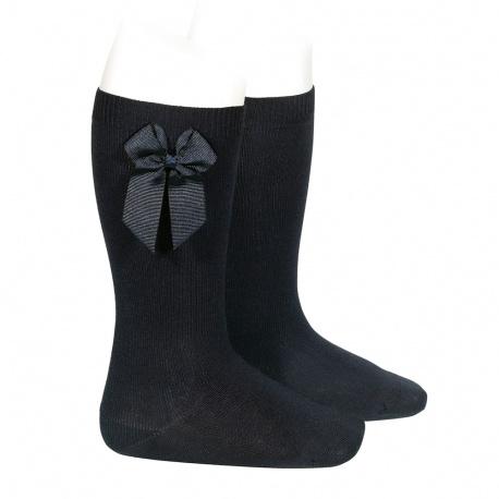 Knee-high socks with grossgrain side bow BLACK