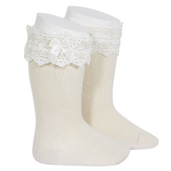 Lace trim knee socks with bow LINEN