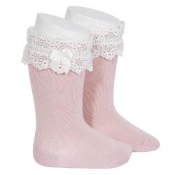 Chaussettes hautes avec dentelle et noeud PALE ROSE
