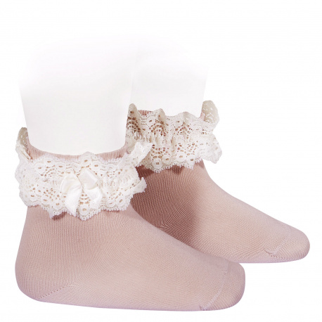 Lace trim short socks with bow PALE PINK