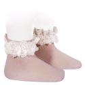 Chaussettes avec dentelle et noeud PALE ROSE