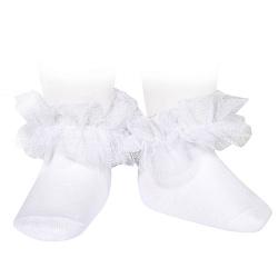 Socquettes avec tulle plissé BLANC