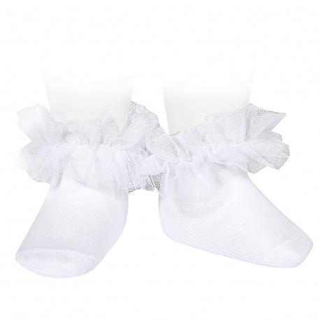 Calcetines tobilleros con tira de tul fruncido BLANCO