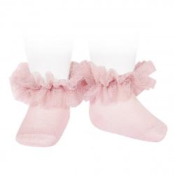 Calcetines tobilleros con tira de tul fruncido ROSA