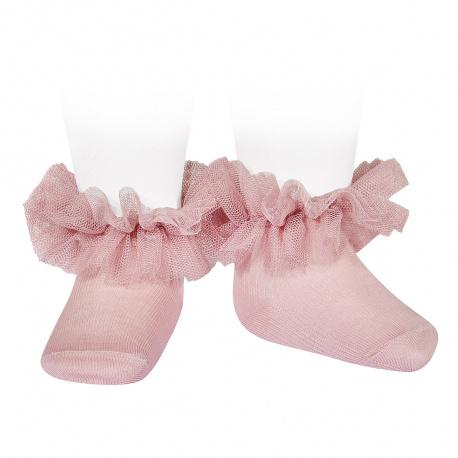 Calcetines tobilleros con tira de tul fruncido ROSA PALO