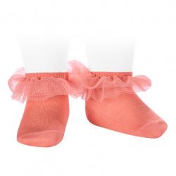 Calcetines tobilleros con tira de tul fruncido PEONIA