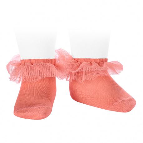 Frill tulle ankle socks PEONY