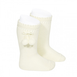 Perle knee high socks with pompoms BEIGE