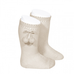 Perle knee high socks with pompoms LINEN