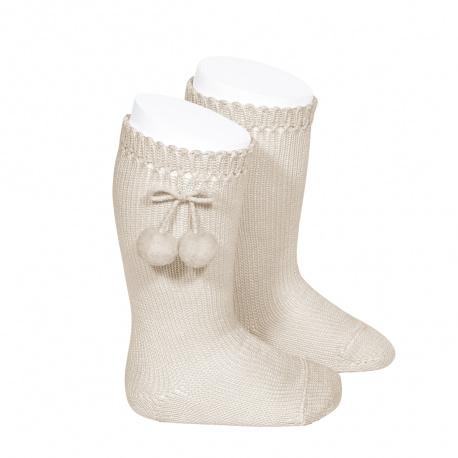 Chaussettes hautes avec pompoms LIN