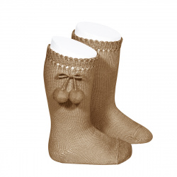 Perle knee high socks with pompoms CAMEL