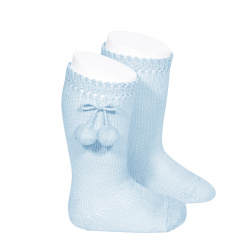 Perle knee high socks with pompoms BABY BLUE