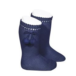 Calcetines altos perlé con borlas MARINO