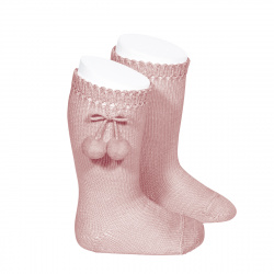 Perle knee high socks with pompoms PALE PINK