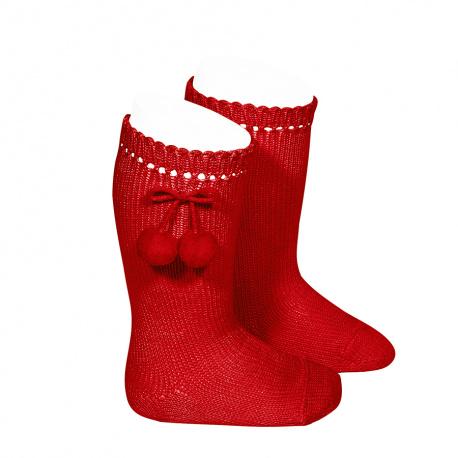 Chaussettes hautes avec pompoms ROUGE