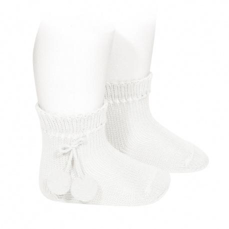 Chaussettes courtes coton avec pompoms BLANC