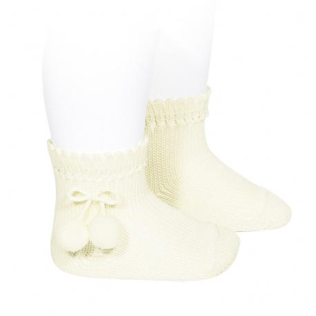 Calcetines cortos perlé con borlas CAVA